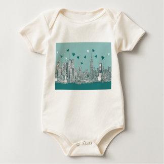 Green-blue NYC valentine Baby Bodysuit