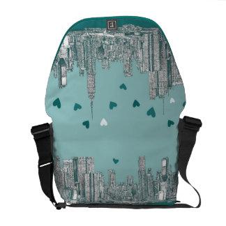 Green-blue NYC valentine Messenger Bag