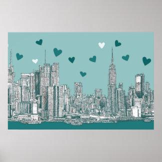 Green-blue NYC valentine Poster
