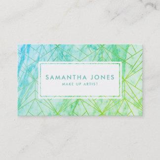 Green Blue Ombre Pattern Make Up Artist Business Card