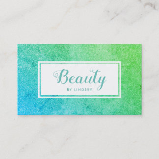 Green Blue Ombre Sparkle Glitter Beauty Make Up Business Card