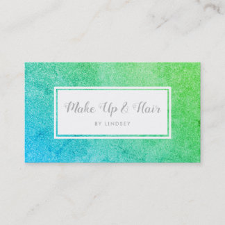 Green Blue Ombre Sparkle Glitter Hair Make Up Business Card