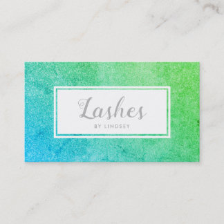 Green Blue Ombre Sparkle Glitter Lashes Make Up Business Card