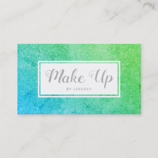 Green Blue Ombre Sparkle Glitter Make Up Business Card