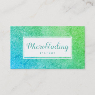 Green Blue Ombre Sparkle Glitter Microblading Business Card
