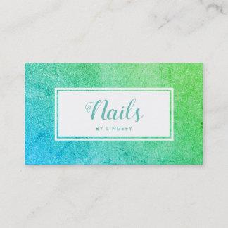 Green Blue Ombre Sparkle Glitter Nail Artist Business Card
