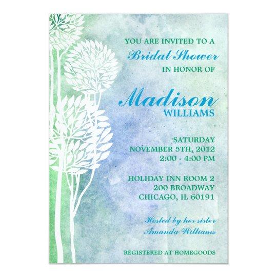 Green Blue Ombre Trees Bridal Shower Invite