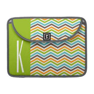 Green, Blue, Orange, & Brown Chevron Stripes Sleeve For MacBook Pro
