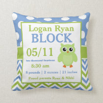 Green Blue Owl Baby Announcement Pillow
