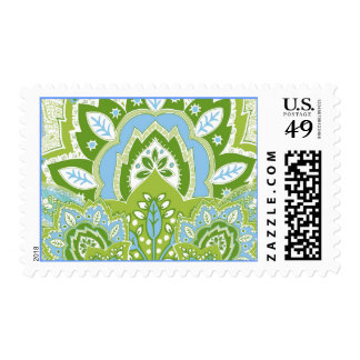Green Blue Paisley Postage Stamp