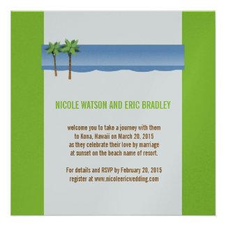 Green Blue Palm Trees Beach Wedding Invitation