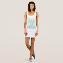 Green Blue Pattern Women's Jersey Tank Dress.