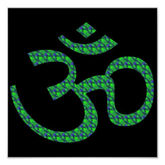 Green blue patterned Om or Aum ॐ.png Posters