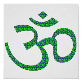 Green blue patterned Om or Aum ॐ.png Print