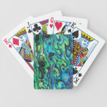 Green blue paua abalone shell bicycle playing cards