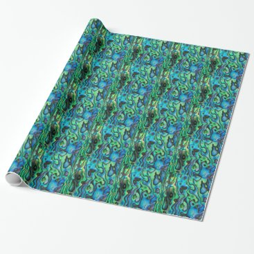 Beach Themed Green blue paua abalone shell wrapping paper