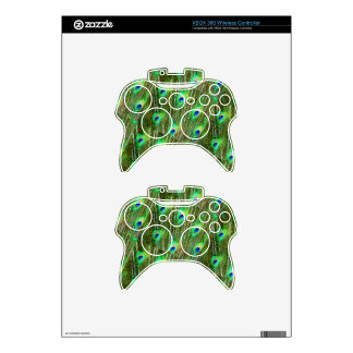 Green & Blue Peacock Feather Pattern Xbox 360 Controller Skins