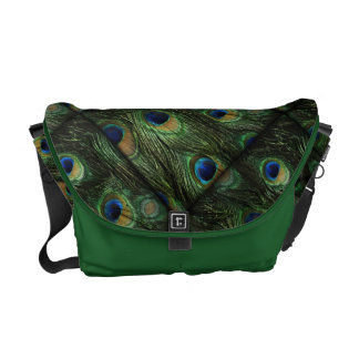 Green Blue Peacock Feathers Courier Bags