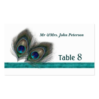 Green blue peacock feathers Place card Business Card