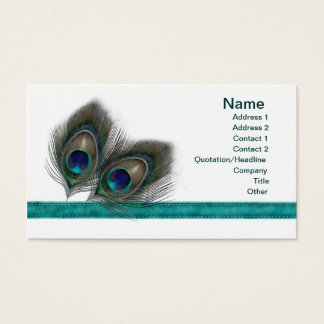 Green blue Peacock feathers profile Business card