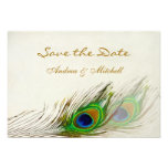 Green blue peacock feathers Save the date Invite