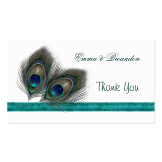 Green blue Peacock feathers Wedding Thank You Business Card Template
