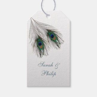 Green blue peacock feathers Wedding Thank You Gift Tags
