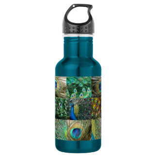 Green Blue Peacock photo collage 18oz Water Bottle