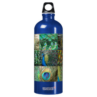 Green Blue Peacock photo collage Aluminum Water Bottle