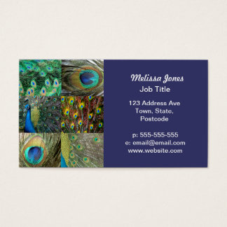 Green Blue Peacock photo collage Business Card
