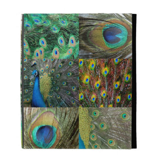 Green Blue Peacock photo collage iPad Cases