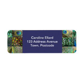 Green Blue Peacock photo collage Return Address Label