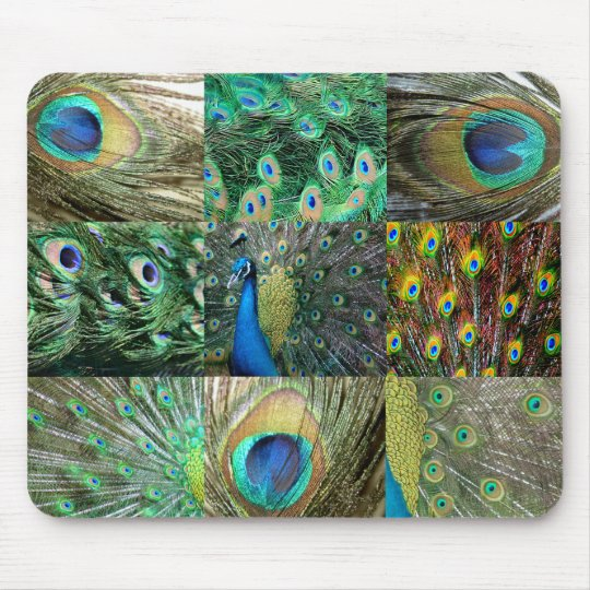Green Blue Peacock photo collage Mouse Pad