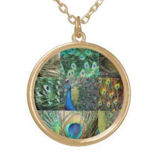 Green Blue Peacock photo collage Custom Jewelry