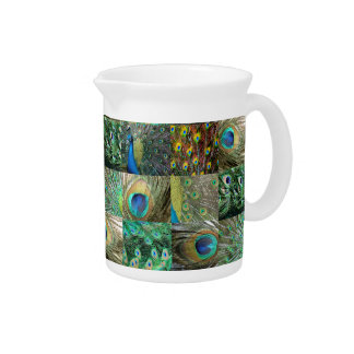 Green Blue Peacock photo collage Pitcher