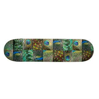 Green Blue Peacock photo collage Skateboard Deck