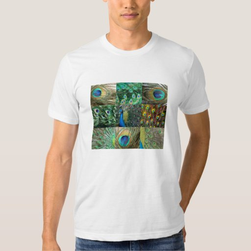 Green Blue Peacock photo collage Tee Shirt