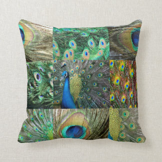 Green Blue Peacock photo collage Throw Pillow