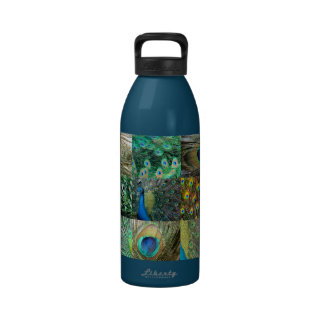 Green Blue Peacock photo collage Reusable Water Bottles