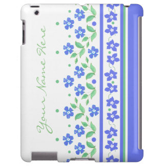 Green Blue Periwinkle Floral Border to Personalize