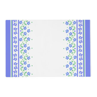 Green Blue Periwinkle Floral Border to Personalize Placemat