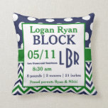 Green Blue Personalized Baby Announcement Pillow Throw Pillows
