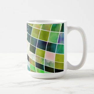 Green Blue Pink and White Squares Coffee Mug