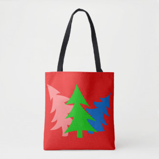 Green Blue Pink Pine Trees Red Tote Bag