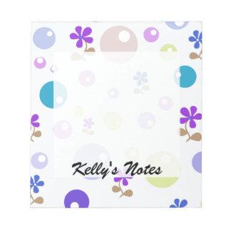 Green Blue Pink Purple Retro Flowers & Bubble Dots Notepad