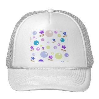 Green Blue Pink Purple Retro Flowers & Bubble Dots Trucker Hat