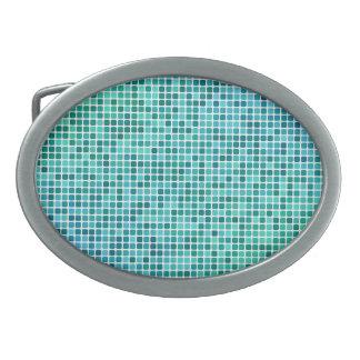 Green blue pixel mosaic belt buckle