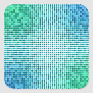 Green blue pixel mosaic square sticker