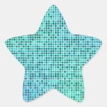 Green blue pixel mosaic star sticker