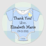 Green Blue Plaid - Baby Outfit Classic Round Sticker